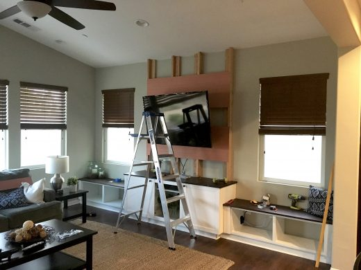 How to construct a built-in media center with shiplap and window seats!