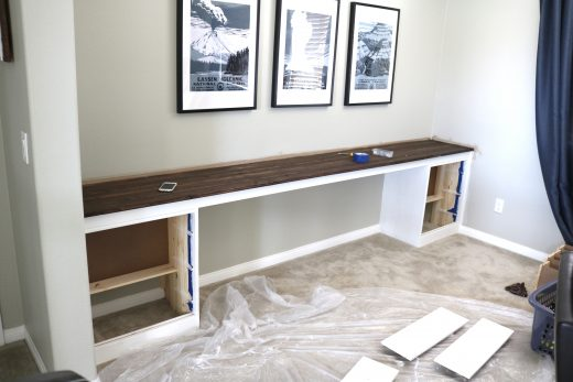 How to create a huge built-in homework desk using cheap Ikea Rast dressers!